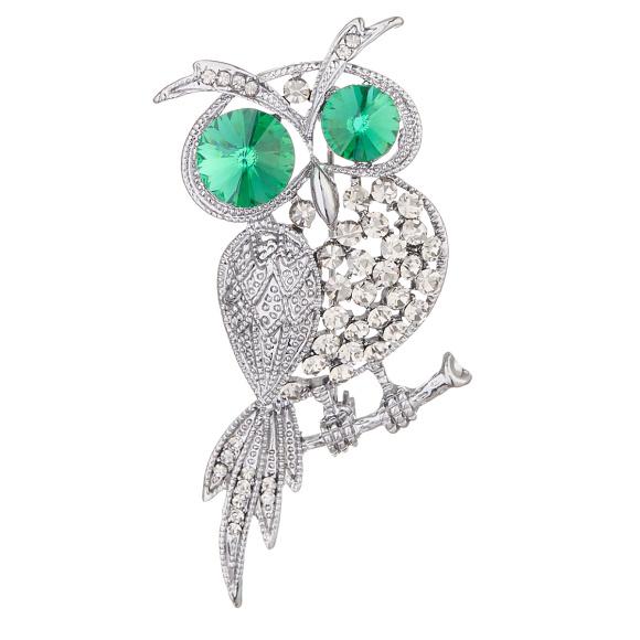 Crystal embellished owl brooch