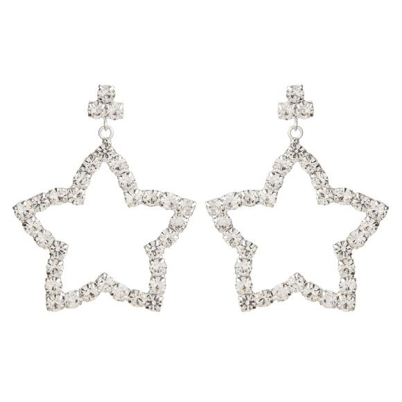 Crystal embellished star shaped earrings