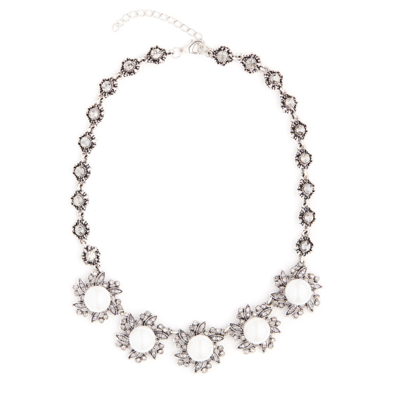Crystal embellished faux pearl necklace