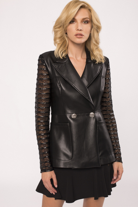 Transparent sleeves faux leather jacket
