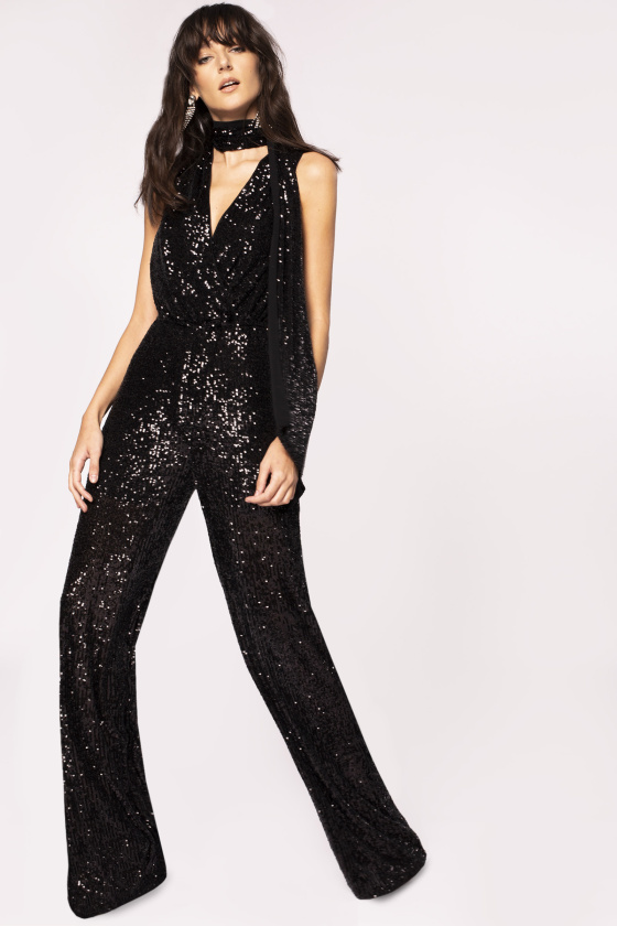 V-neck sequinned jumpsuit