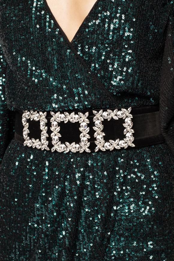 Crystal applique velvet belt