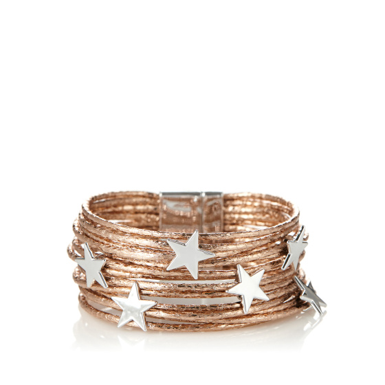 Multi row metalic star bracelet
