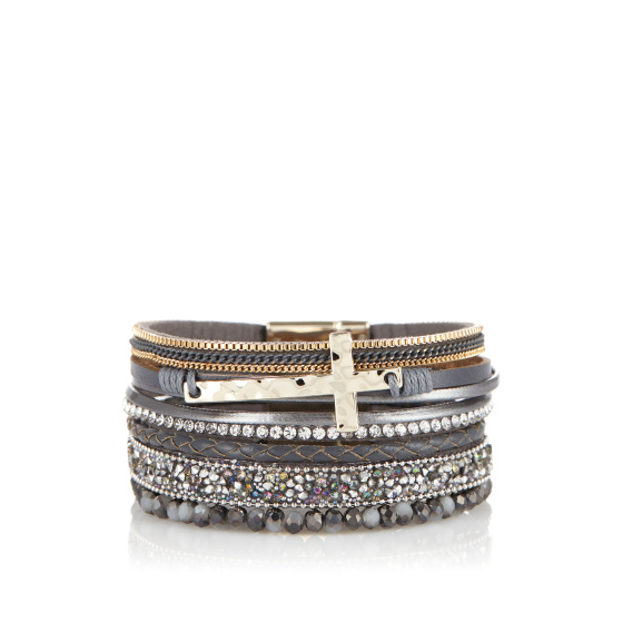 Multi row crystal details bracelet