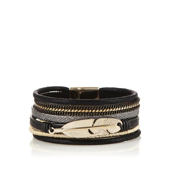 Multi row metallic details bracelet