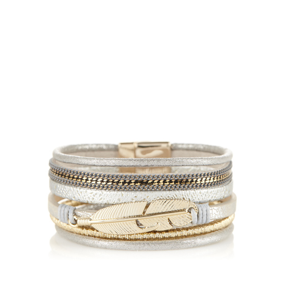 Multi row metallic details bracelet
