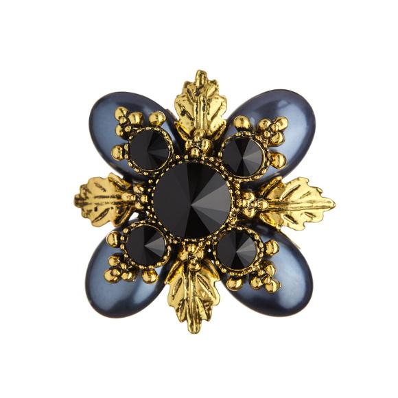 Embellished metallic brooch