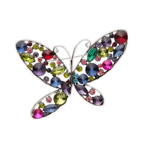Multicoloured cyrstals butterfly brooch