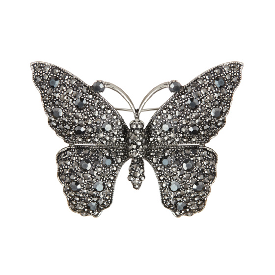 Crystal embellished butterfly brooch