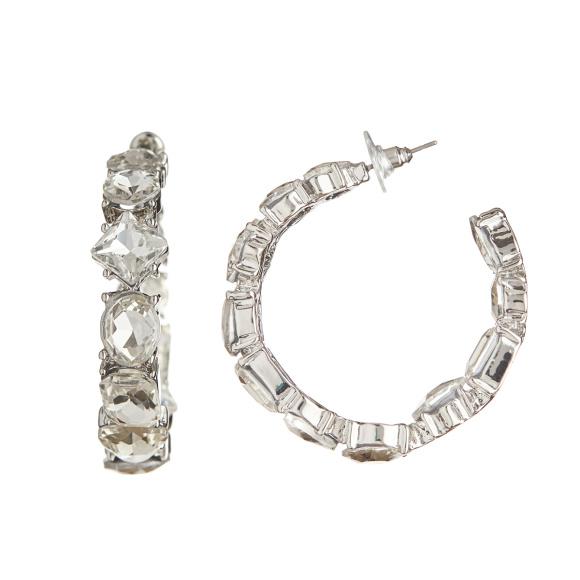 Crystal embellished hoop earrings