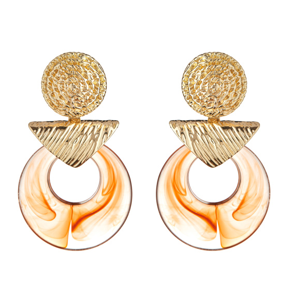 Tortoise shell metallic details earrings