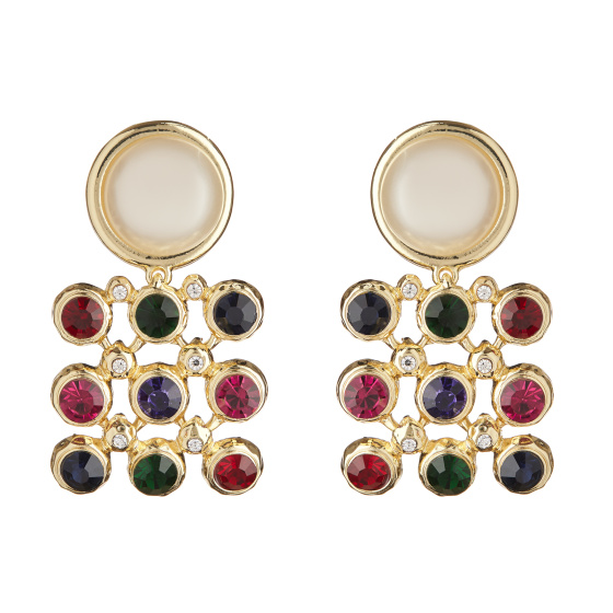 Faux pearl stud multicoloured crystals drop earrings