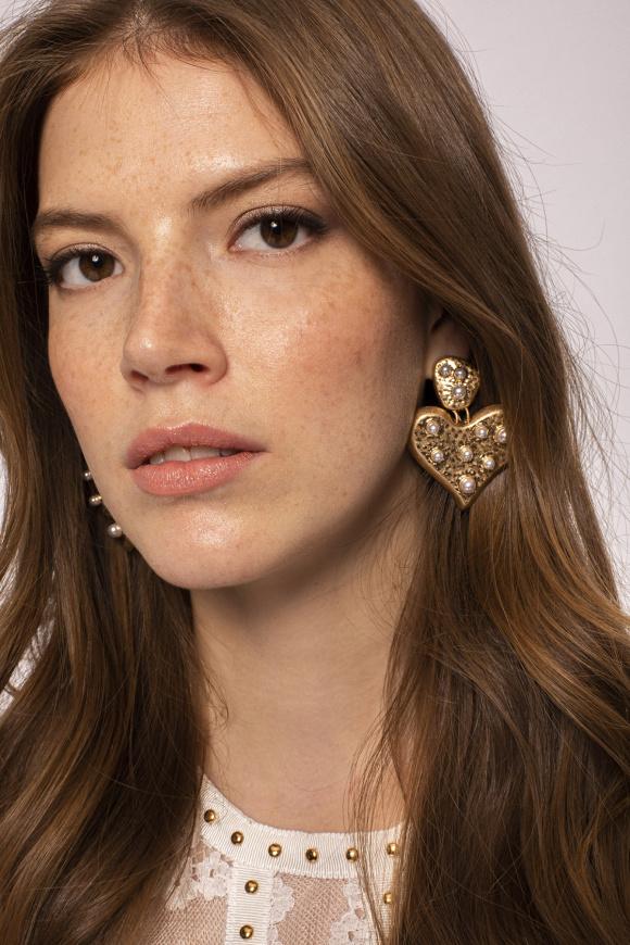 Faux pearl embellished heart shaped drop earrings