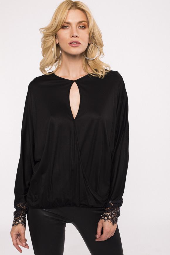 Lace detail viscose blouse