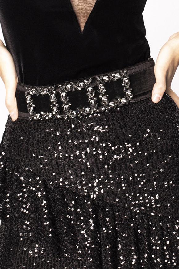 Crystal embellished velvet belt