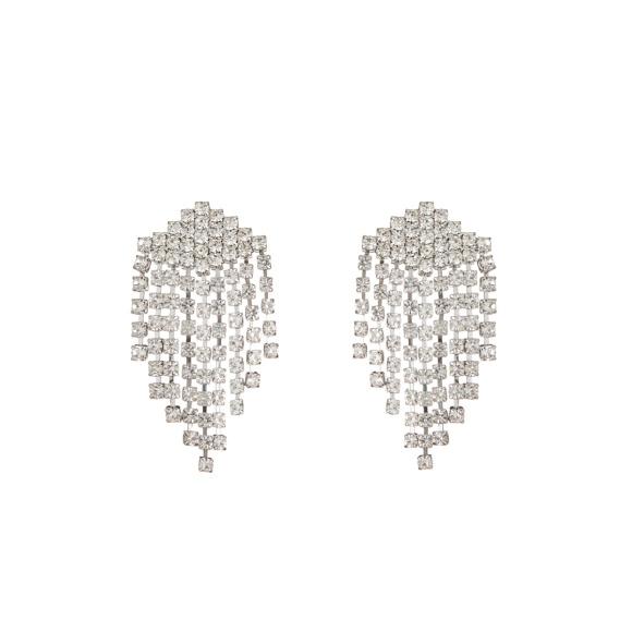 Crystal embellished geometrical drop earrings