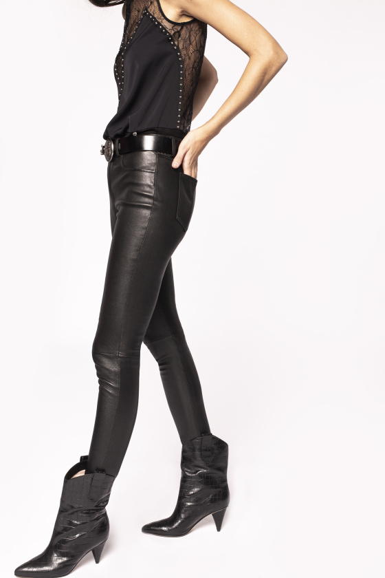 Natural leather skinny trousers
