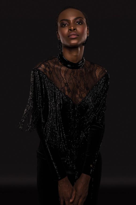 Fringes and beads embellished dress