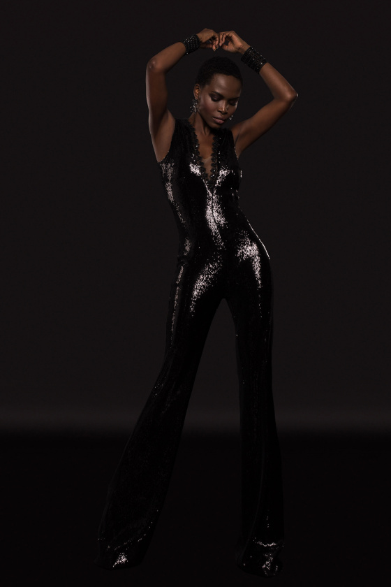 Stretch sequinned jumpsuit