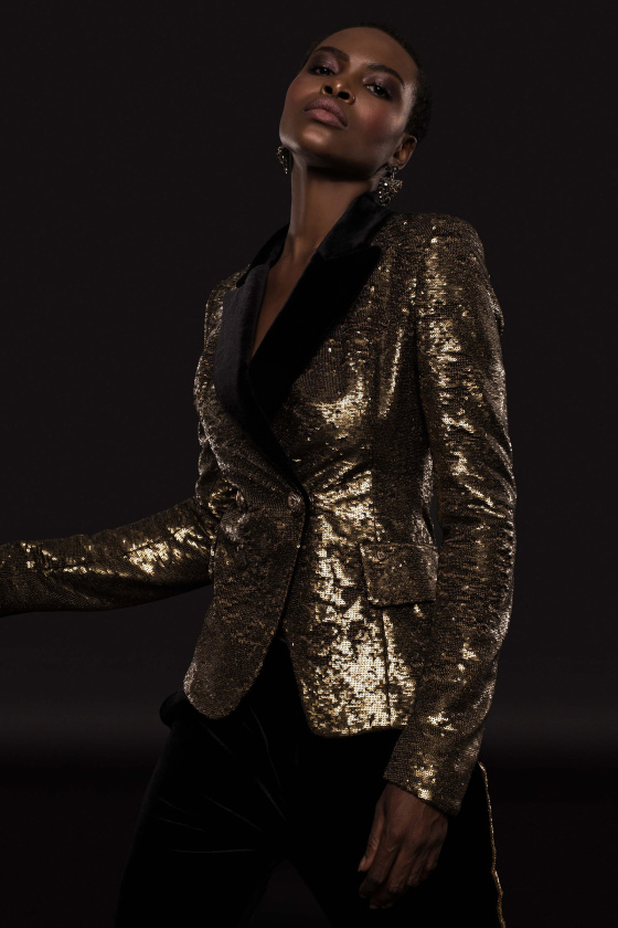 Antique gold sequined blazer with velvet lapel