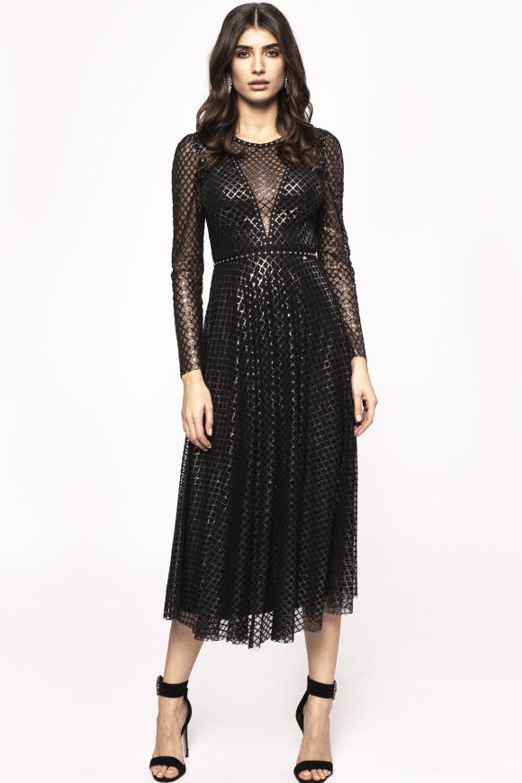 Transparent details shiny film dress