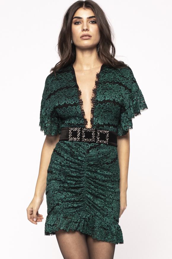 Shiny ruching mini dress