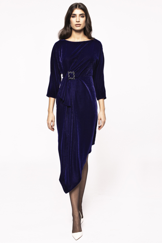 Asymmetrical velvet dress