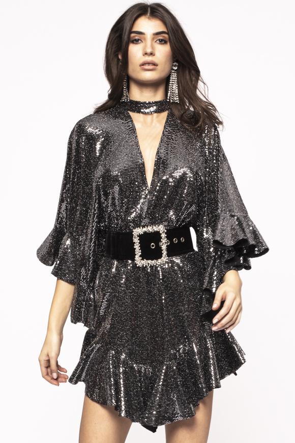 Asymmetrical glitter dress