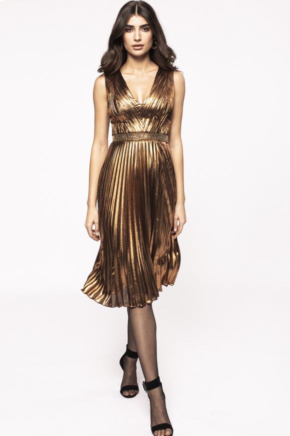 Pleated metallic effect dress