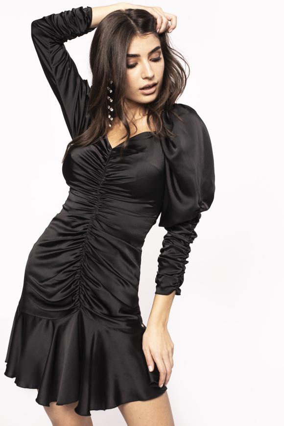 Satin mini dress with puffed sleeves