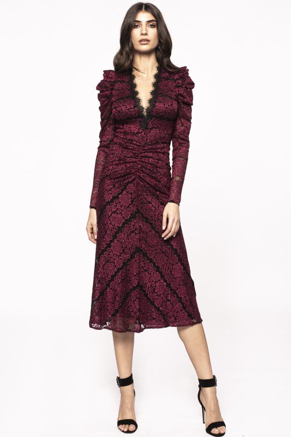 Shiny ruching midi dress