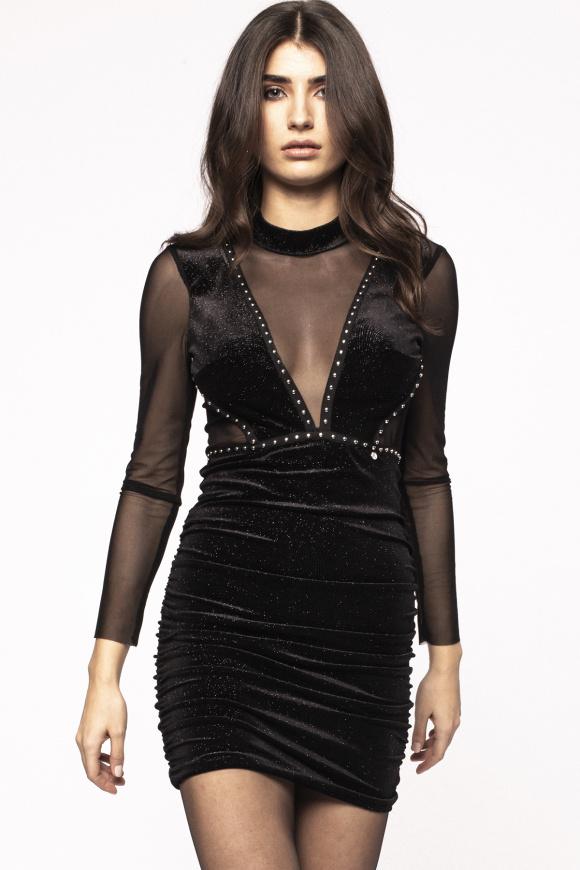 V-neck transparent insert velvet dress