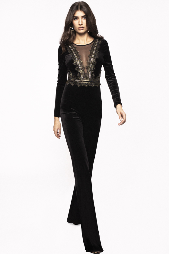 V-neck transparent insert velvet jumpsuit