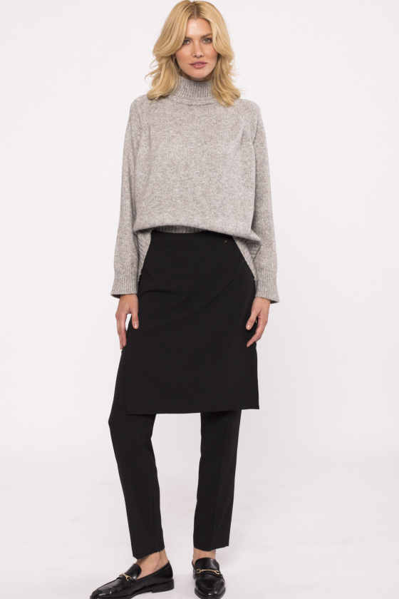 Straight pants with overlay skirt
