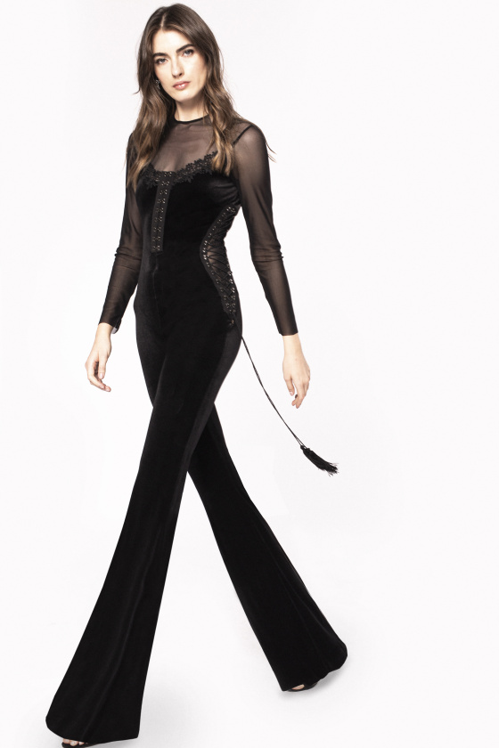 Transparent insert velvet jumpsuit