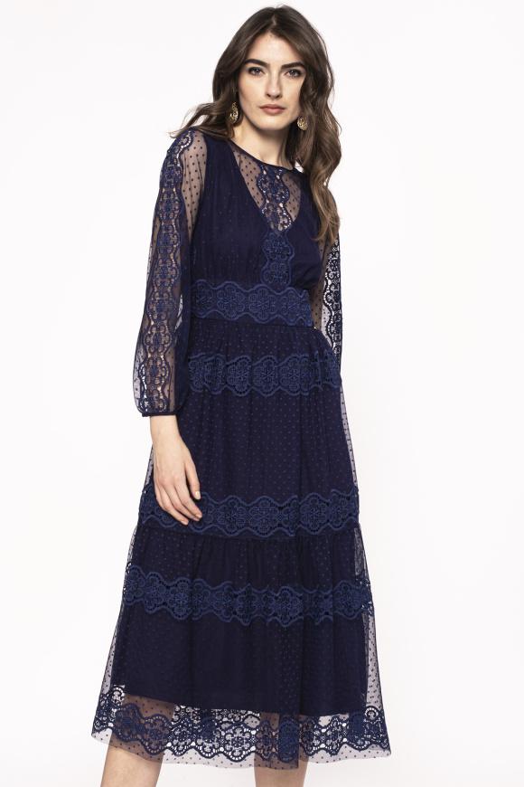 Lace insert mini dress