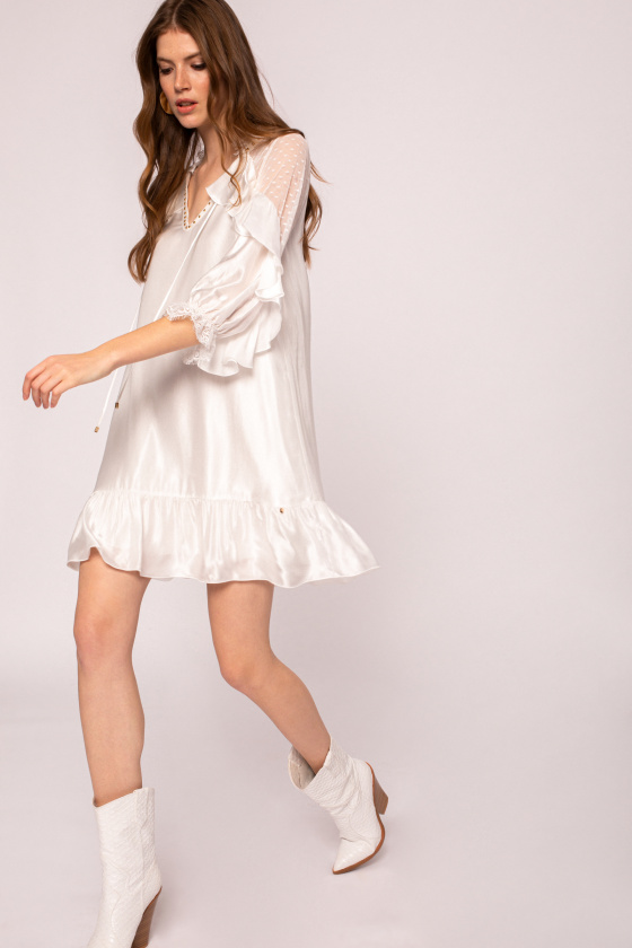 Ruffled viscose mini dress