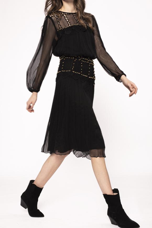 Embellished silk skirt