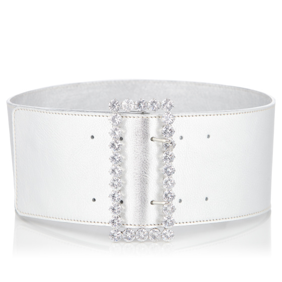 Crystal embellished lock leather belt