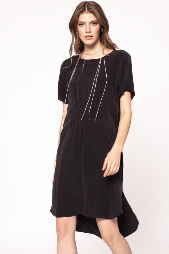 Waist detail cupro dress