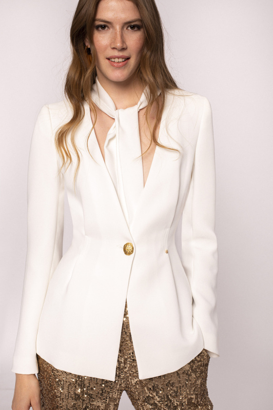 Draped neck-tie fitted blazer
