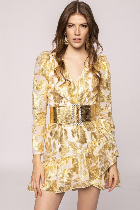 Metallic effect viscose dress