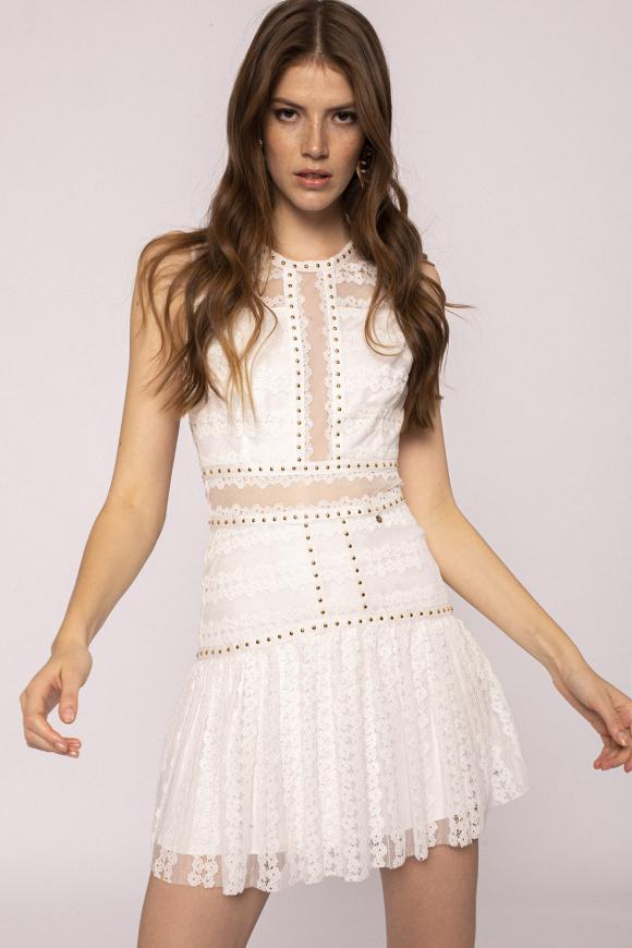 Transparent insert lace dress