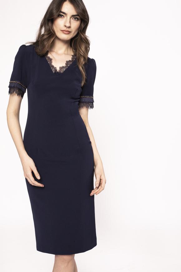 Lace details sheath dress