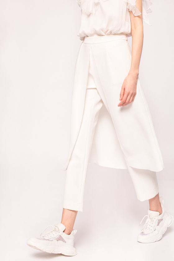 Straight pants with overlay skirt
