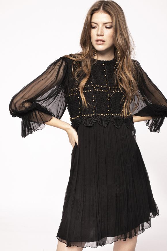 Metallic applique silk dress