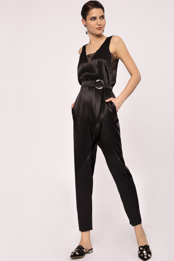V-neck viscose jumpsuit