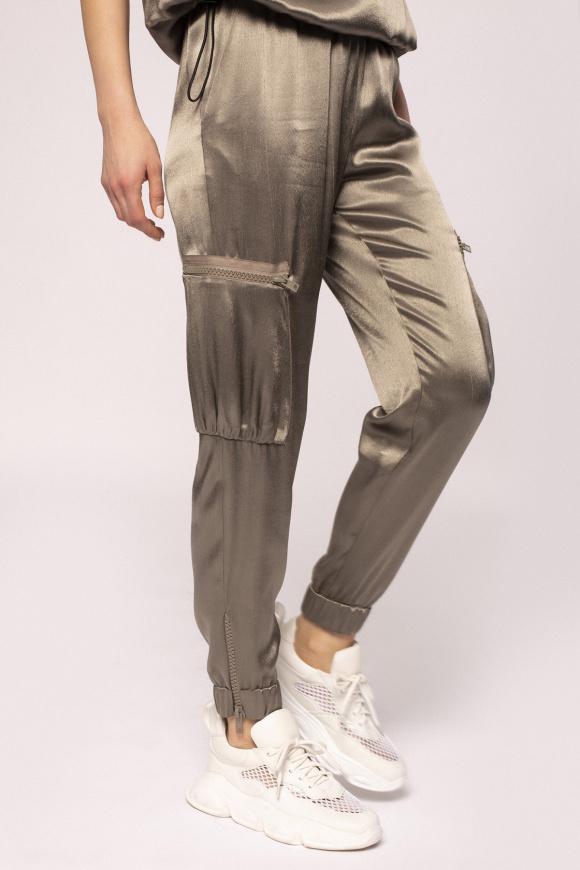 Satin effect cargo pants