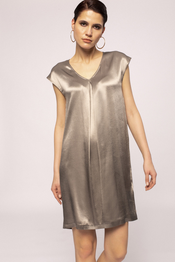Satin effect viscose dress