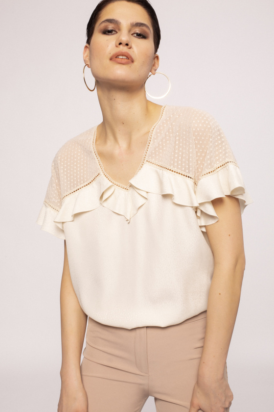 Ruffle applique viscose top